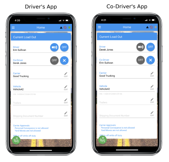 Image of two phone screens, one with a blue signal bar icon to indicate the active Driver, and one with a gray signal bar icon to indicate the Co-driver