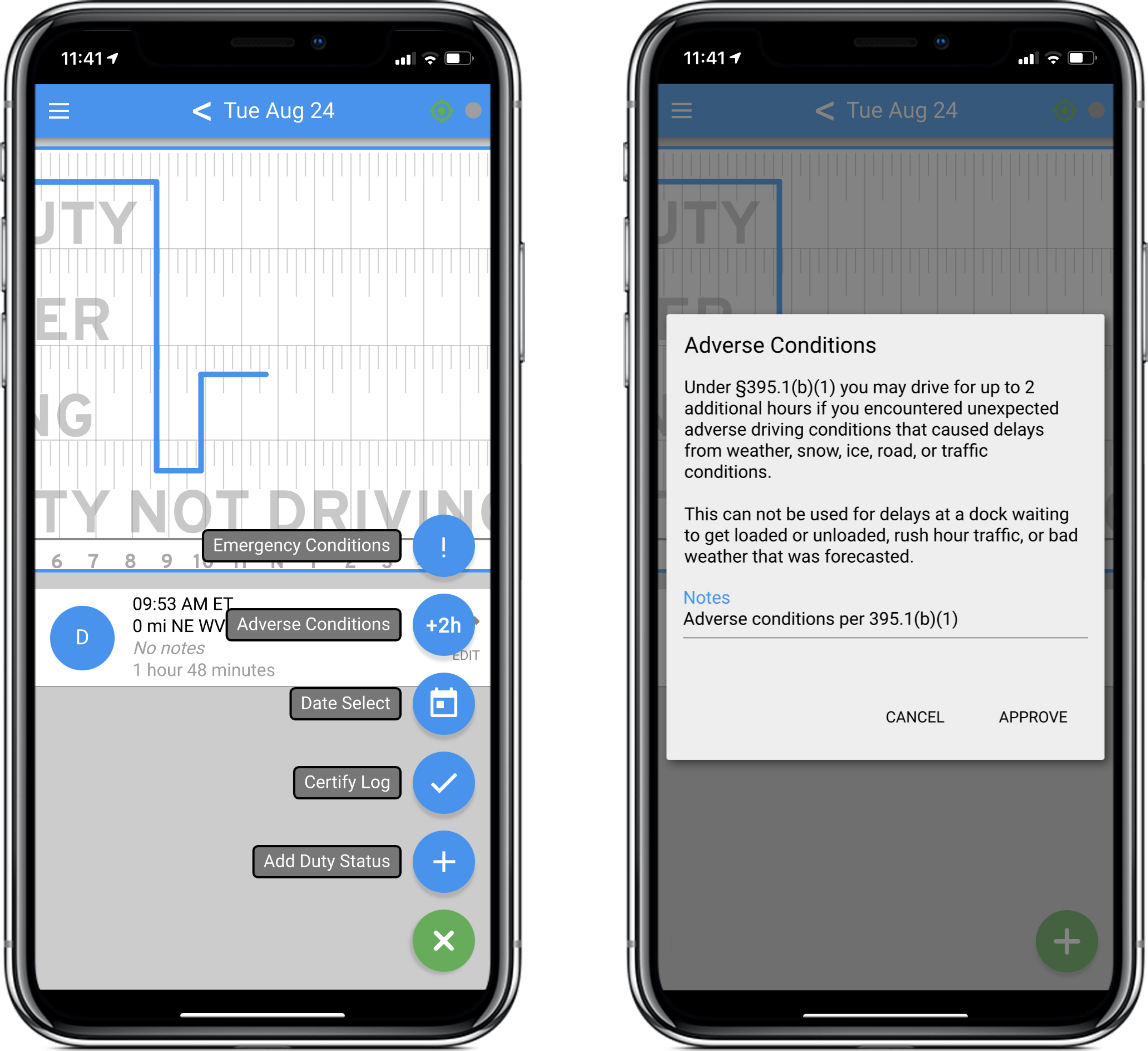 Two screenshots of the Blue Ink Tech app; one of the HOS screen with the menu open, the other of the Adverse Conditions pop up box for the driver to approve the note and additional 2 hours.